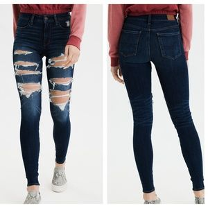 AMERICAN EAGLE Hi Rise Jegging Skinny Destroyed T2